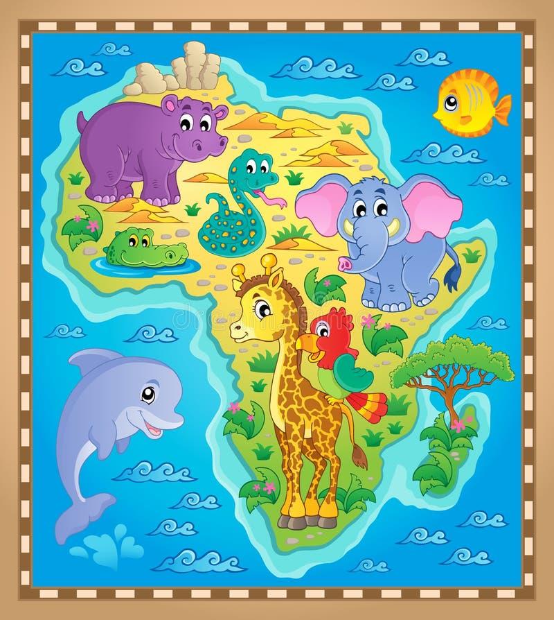 Изображение 2 темы карты Африки иллюстрация вектора