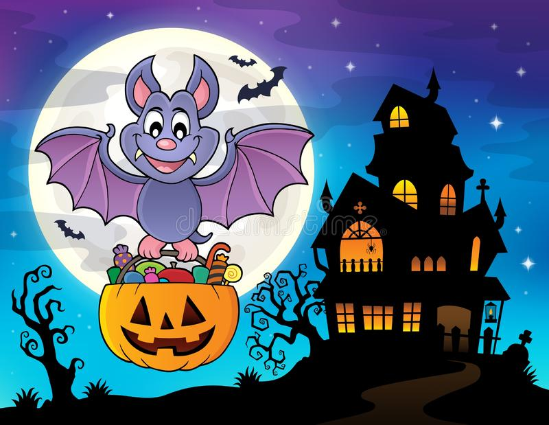 Изображение 2 темы летучей мыши хеллоуина иллюстрация штока