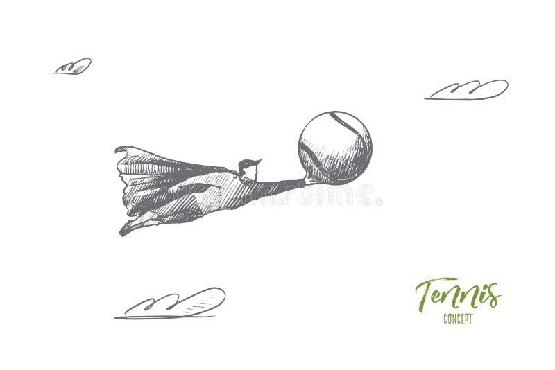 изображение тенниса concept Вектор нарисованный рукой изолированный бесплатная иллюстрация