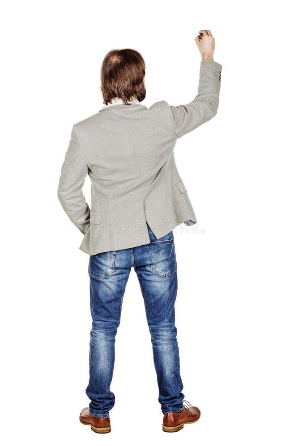 Изображение тела заднего или заднего взгляда полное сочинительства человека что-то дальше стоковое изображение