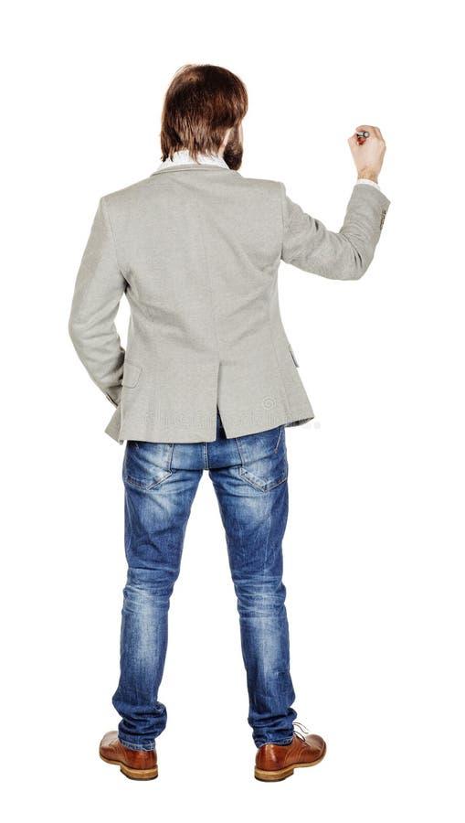Изображение тела заднего или заднего взгляда полное сочинительства человека что-то дальше стоковые фотографии rf