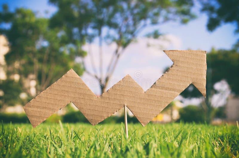 Изображение увеличивая диаграммы стрелки в траве Eco и экологическая концепция стоковая фотография