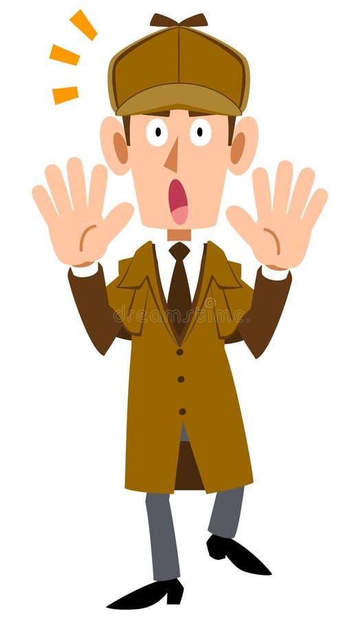Изображение удивленного сыскного человека иллюстрация штока