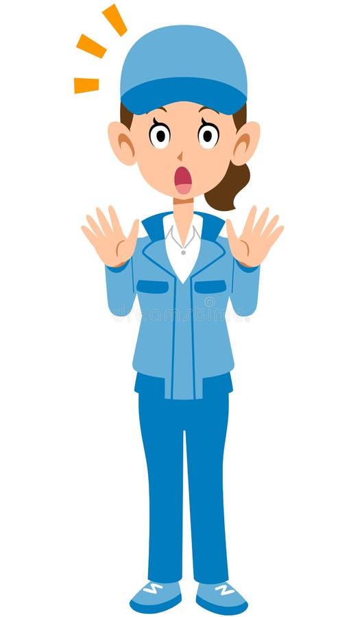 Изображение удивленной голубой женщины workwear иллюстрация вектора