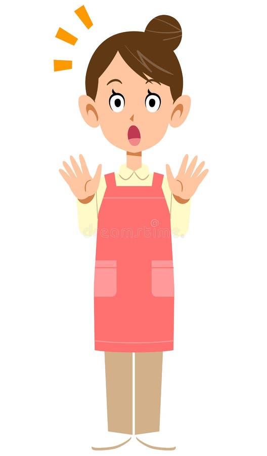 Изображение удивленной женщины с рисбермой иллюстрация штока