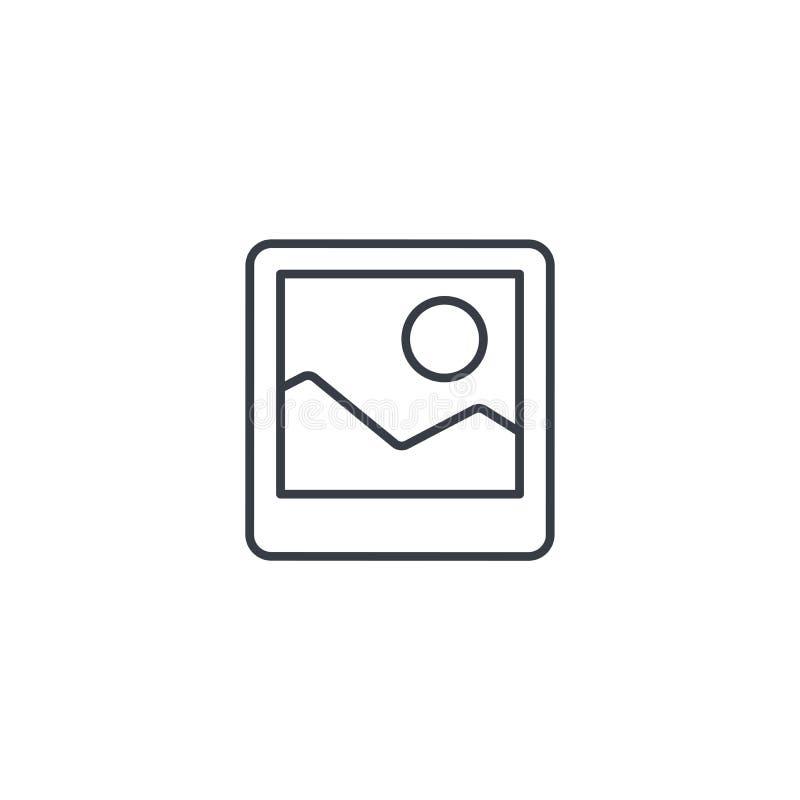 Изображение фото, файл фотографии, линия значок картинной галереи тонкая Линейный символ вектора иллюстрация вектора