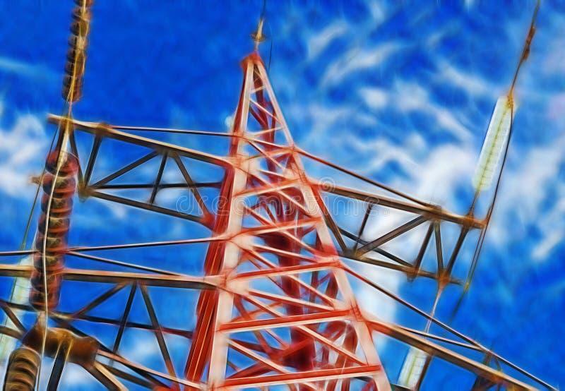 Изображение фрактали электрического высокого напряжения башни иллюстрация вектора