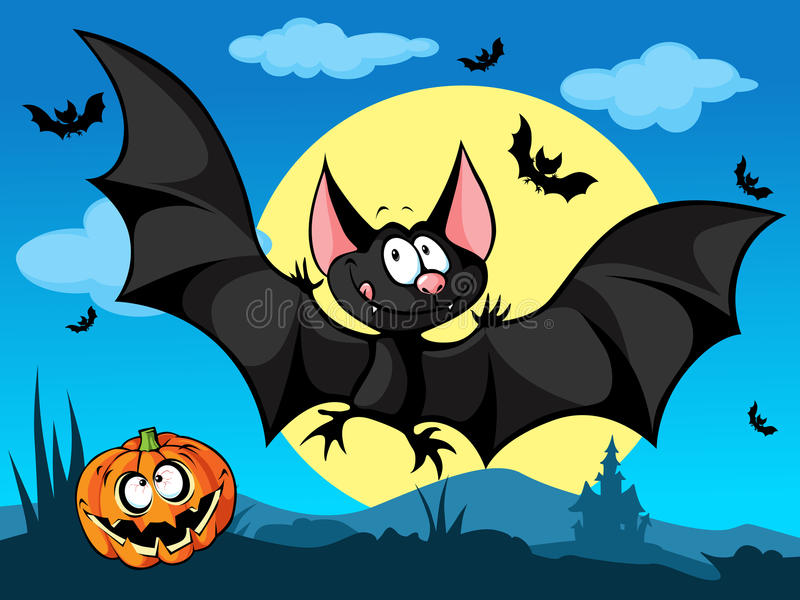 Изображение хеллоуина с тыквой, милыми летучими мышами и луной бесплатная иллюстрация