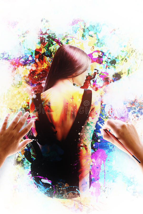 Изображение художественного произведения женщины Чувственная женщина покрашенная щеткой стоковые изображения