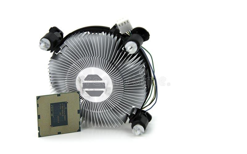 Изображение центрального устройства обработки данных и охлаждающего вентилятора C.P.U. изолировало o стоковая фотография