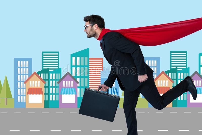 Изображение цифров составное бизнесмена в костюме супергероя бежать в городе иллюстрация штока