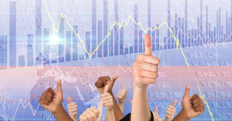 Изображение цифров составное рук показывая большие пальцы руки вверх против экрана стоковая фотография rf