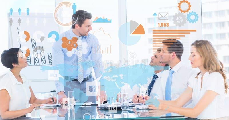 Изображение цифров составное футуристического экрана над бизнесменами в встрече стоковые фотографии rf