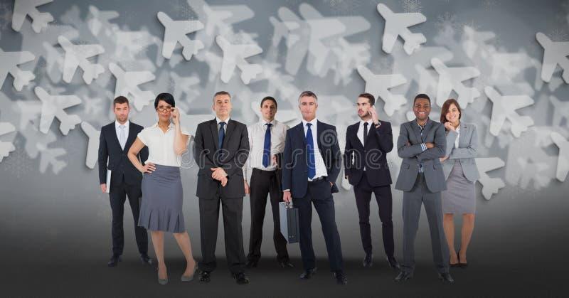 Изображение цифров составное multi этнических бизнесменов с предпосылкой самолета иллюстрация вектора