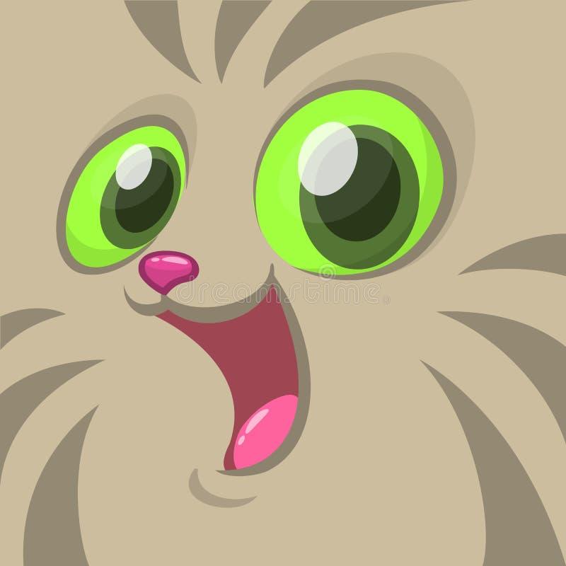 Изображение шаржа вектора серой стороны кота Воплощение головы кота вектора иллюстрация штока