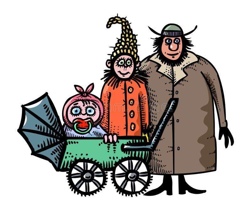 Изображение шаржа значка семьи Родители с символом ребенка иллюстрация вектора