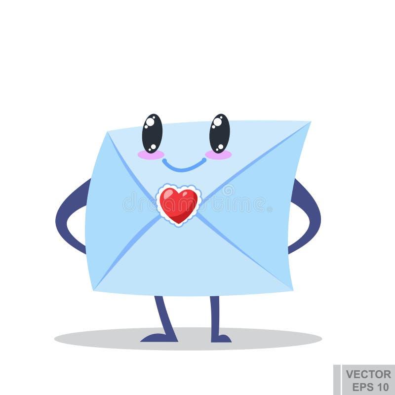 Изображение шаржа милого конверта при глаза, оружия и ноги стоя на белой предпосылке влюбленность письма сердца габарита Иллюстра иллюстрация штока
