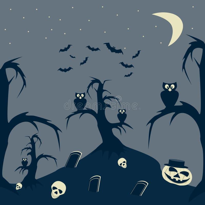 Изображение шаржа ночи хеллоуина иллюстрация вектора