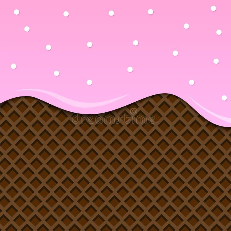 изображение льда предпосылки близкое cream вверх вектор Розовый шоколад иллюстрация штока