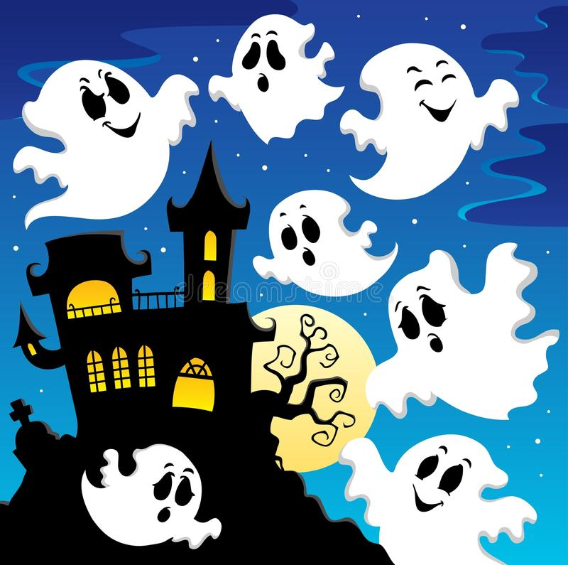 Изображение 2 темы привидения иллюстрация штока