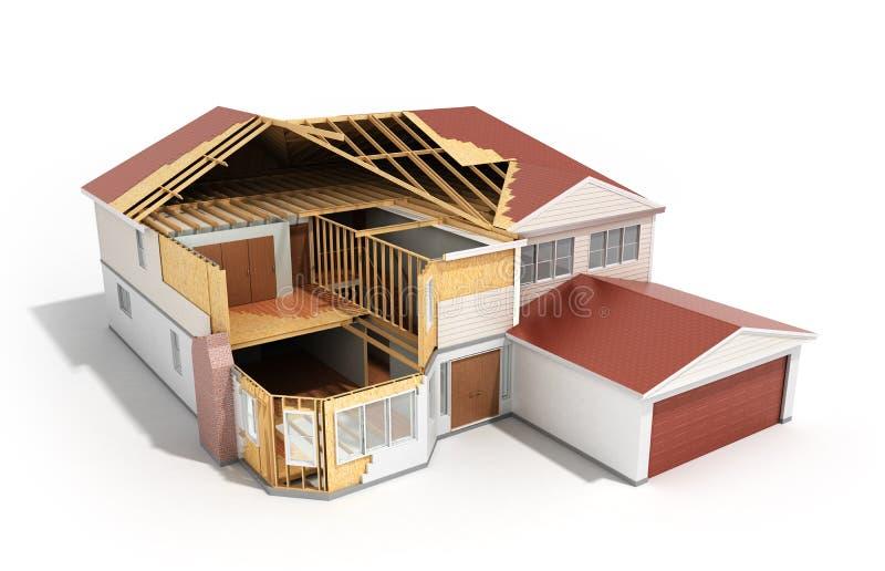 изображение 3d дома строения трехмерное представляет на белом backgroun бесплатная иллюстрация