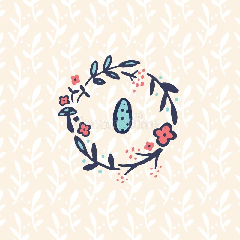 Изображение doodle гнезда с яичком иллюстрация штока
