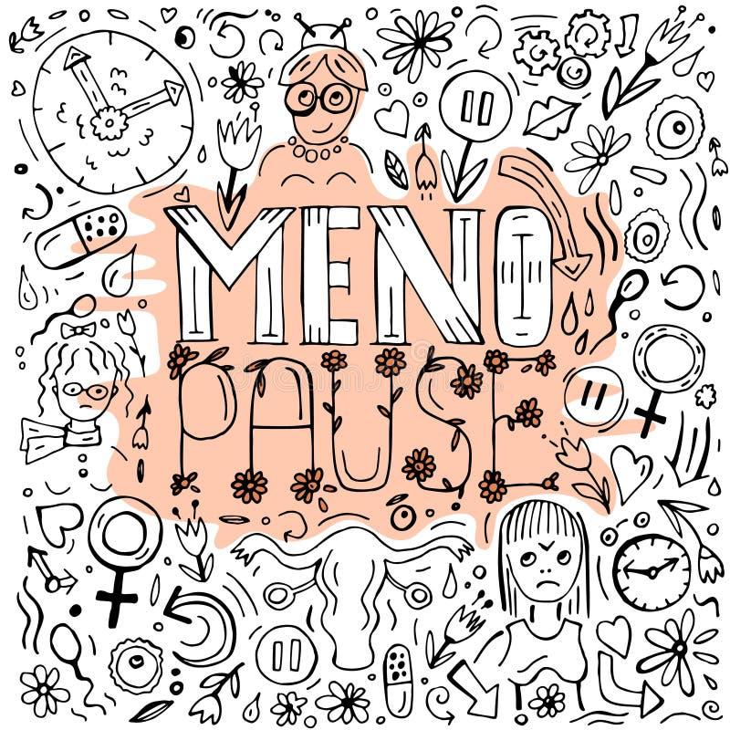 Изображение doodles менопаузы иллюстрация вектора