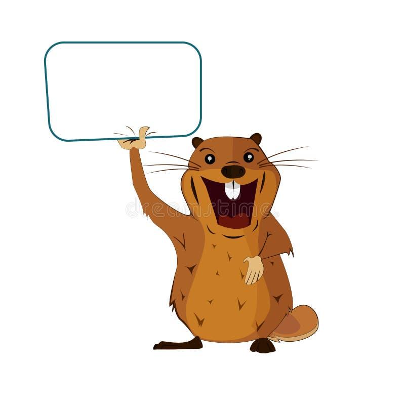 Изображение groundhog с плакатом на день Groundhog на изолированной предпосылке стоковое изображение
