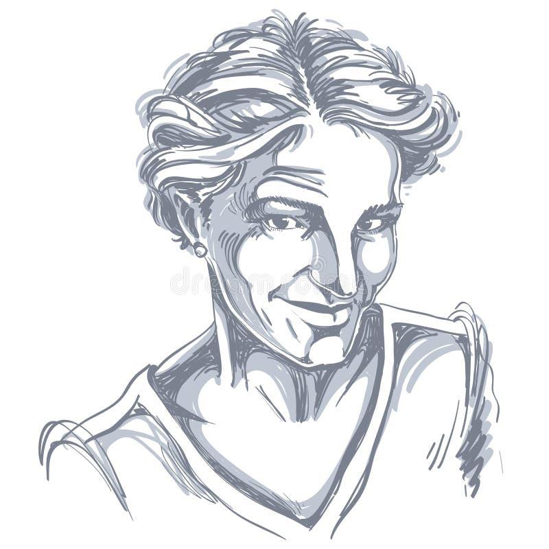 Изображение Monochrome вектора нарисованное вручную, скептичная молодая женщина иллюстрация штока