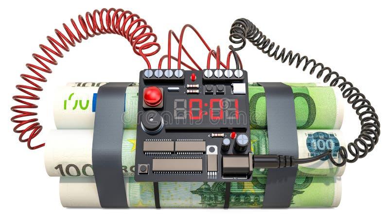 изображение res кризиса принципиальной схемы цифрово хозяйственное произведенное высокое Пакеты евро как часовая бомба перевод 3d иллюстрация штока