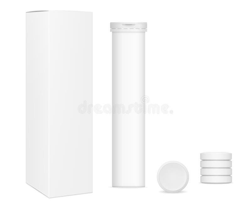 Изображения вектора реалистические прямоугольной бумажной коробки, упаковывающ для витаминов, и таблетки иллюстрация штока