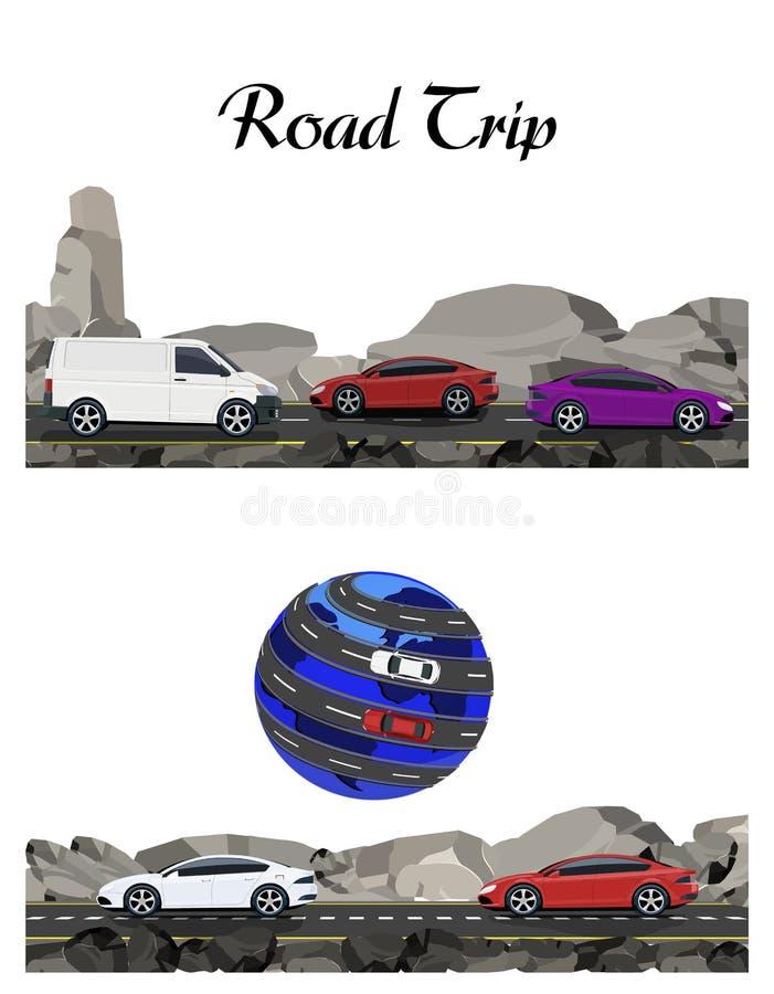 2 изображения Дорога, шоссе вдоль утесов Перемещать автомобилем Земля иллюстрация иллюстрация вектора