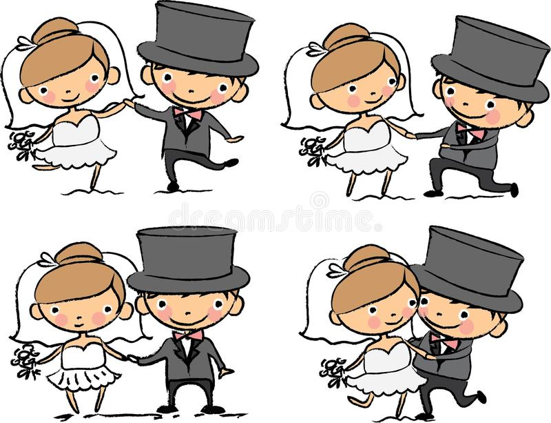 Изображения свадьбы шаржа бесплатная иллюстрация