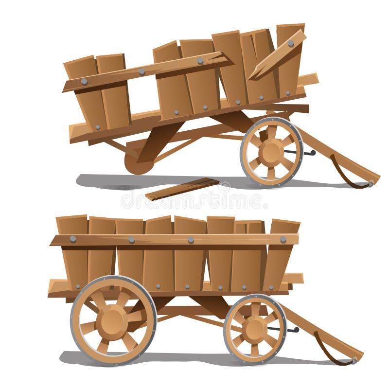 2 изображения старых деревянных тележек, новый и сломленный иллюстрация вектора