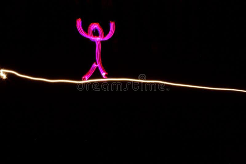 Изображенный человек идя на highline стоковое фото rf