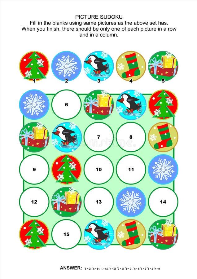 Изобразите головоломку, рождество или Новый Год sudoku тематические иллюстрация вектора