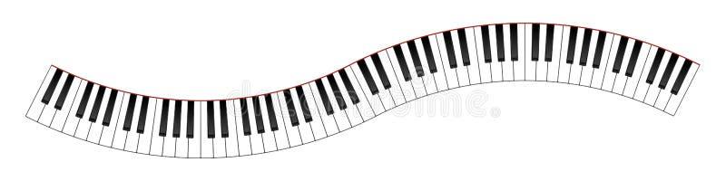 Изогнутая клавиатура рояля иллюстрация штока