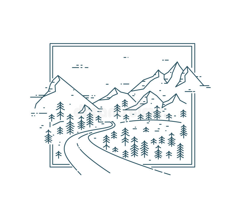 Изогнутая дорога в горной цепи среди деревьев бесплатная иллюстрация