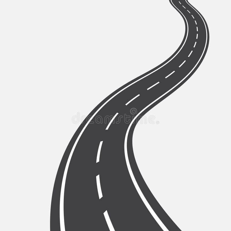 Изогнутая дорога с белыми маркировками иллюстрация иллюстрация вектора