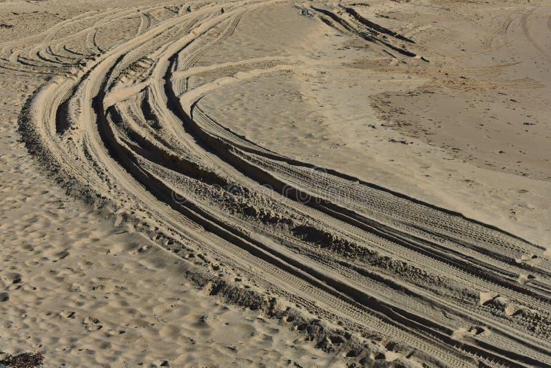 Изогнутые следы четырехколесного привода в мягком песке стоковые изображения