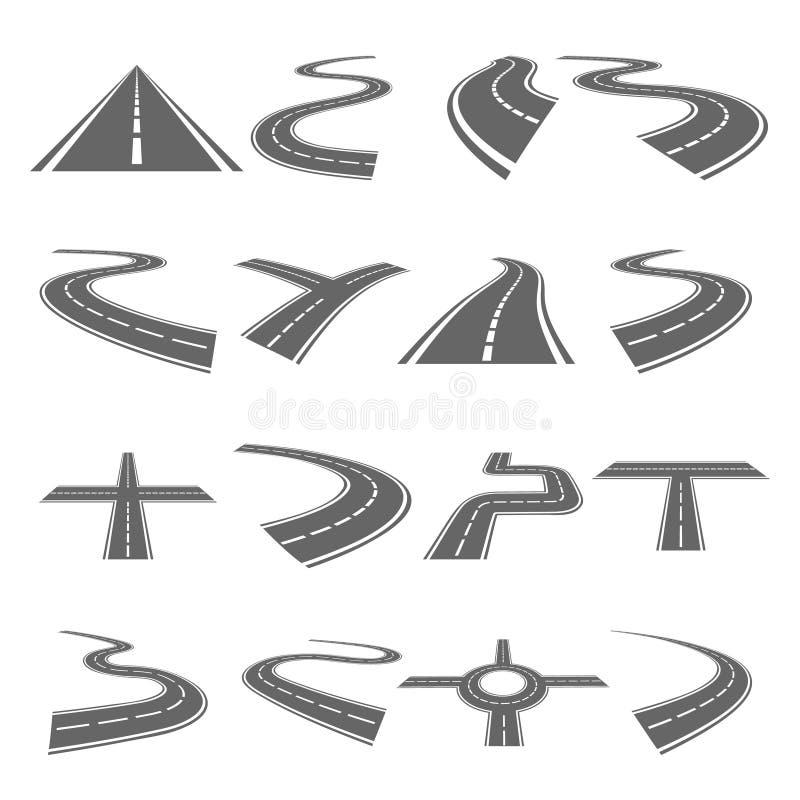 Изогнутый комплект вектора дорог иллюстрация вектора