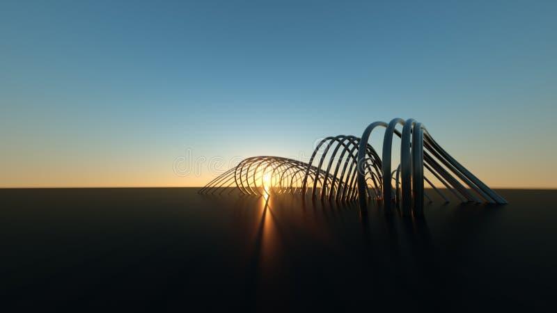 Изогнутый современный мост на мосте захода солнца 3 габаритном реалистическом изгибая современном на заходе солнца стоковые изображения rf