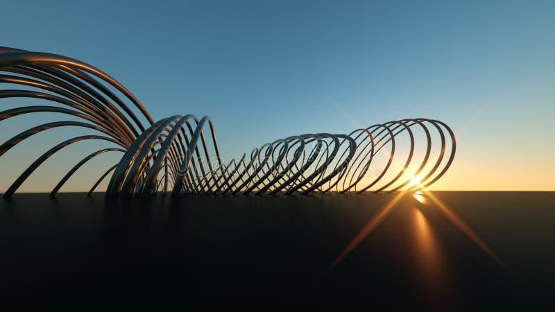 Изогнутый современный мост на мосте захода солнца 3 габаритном реалистическом изгибая современном на заходе солнца стоковые фото
