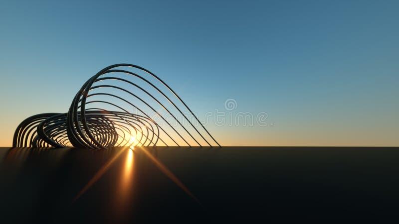 Изогнутый современный мост на мосте захода солнца 3 габаритном реалистическом изгибая современном на заходе солнца стоковое изображение