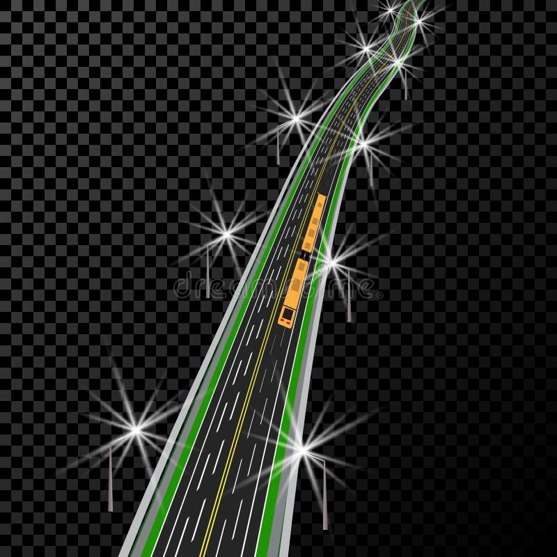 изогнутый хайвей В перспективе Желтая и белая иллюстрация маркировок иллюстрация вектора