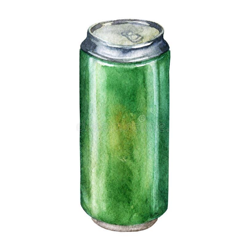 Изолированная банка пива акварели на белой предпосылке бесплатная иллюстрация