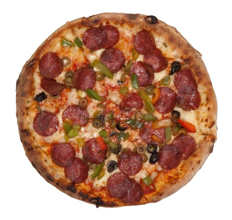 изолированная белизна пиццы стоковое изображение