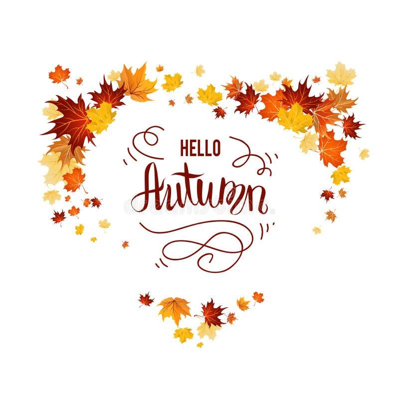 Изолированная белизна с листьями осени бесплатная иллюстрация