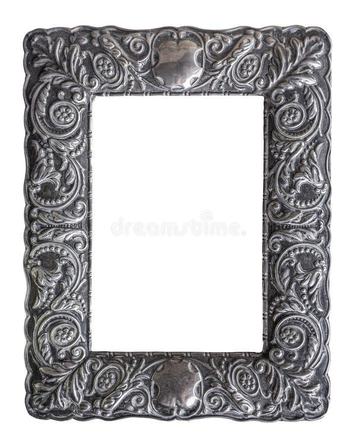 Изолированная богато украшенная серебряная картинная рамка стоковые изображения rf