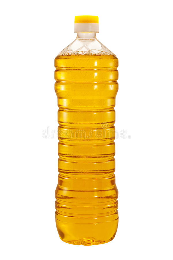 Изолированная бутылка подсолнечного масла стоковое изображение